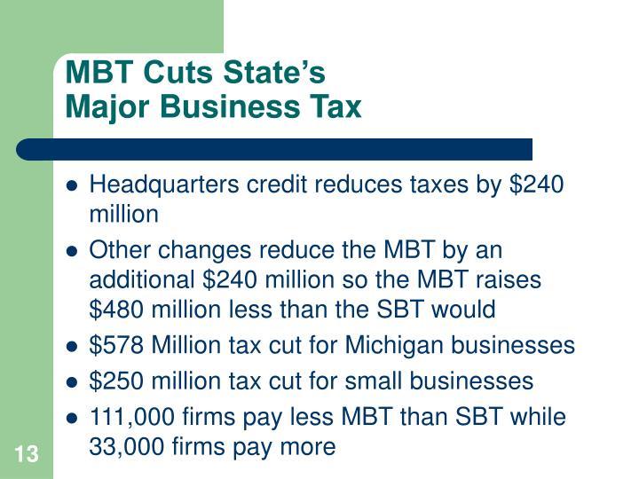 MBT Cuts State's