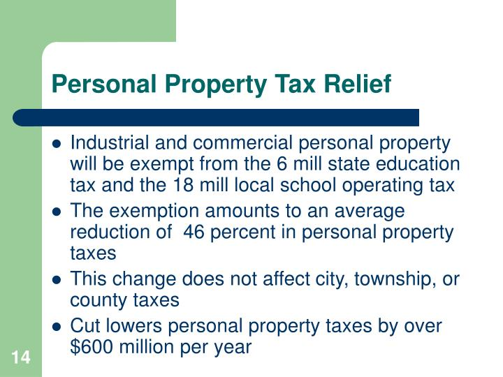 Personal Property Tax Relief