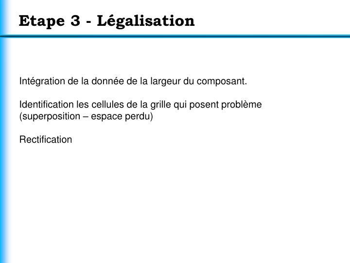 Etape 3 - Légalisation