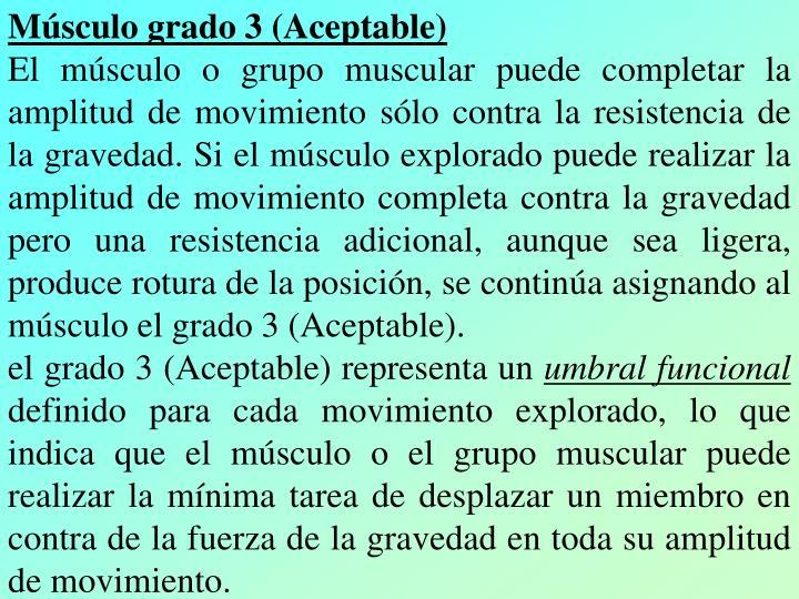 Músculo grado 3 (Aceptable)