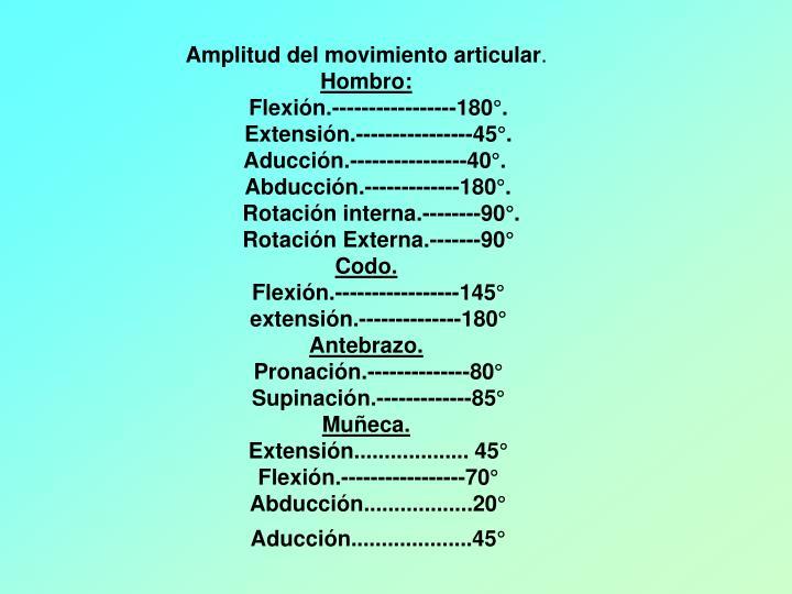 Amplitud del movimiento articular