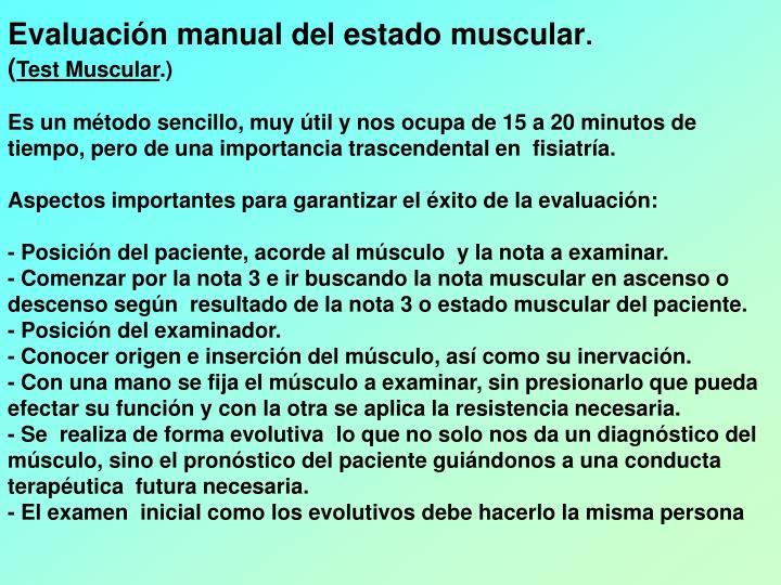 Evaluación manual del estado muscular