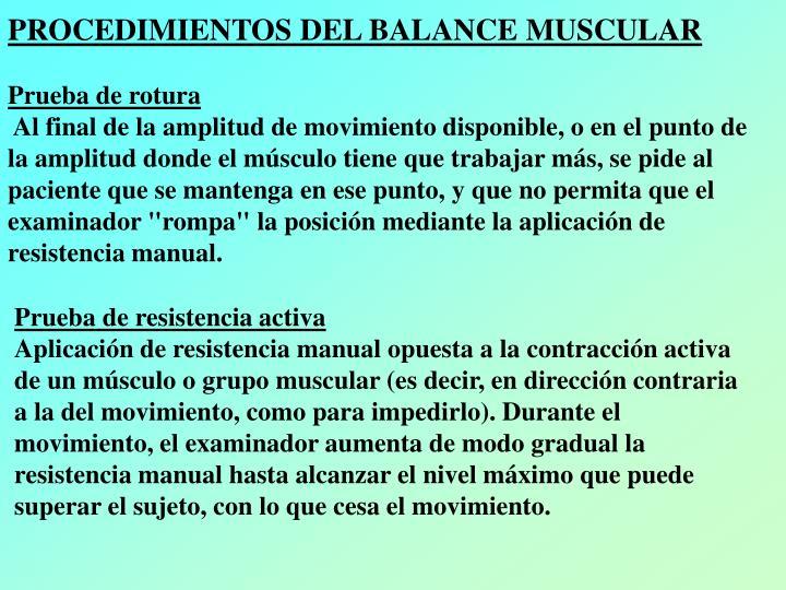 PROCEDIMIENTOS DEL BALANCE MUSCULAR