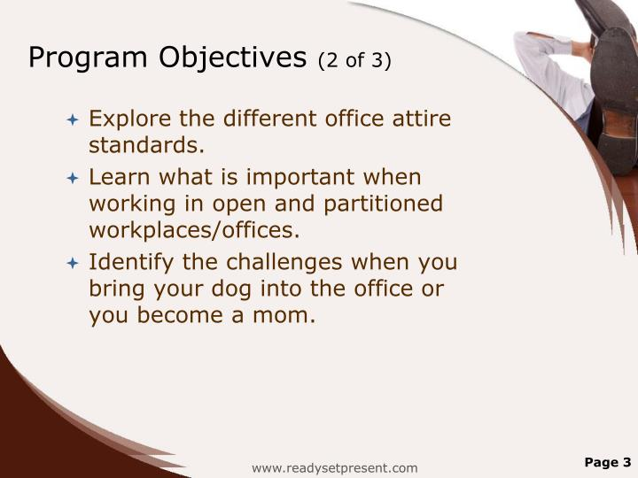 Program objectives 2 of 3