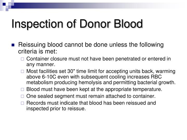 Inspection of Donor Blood