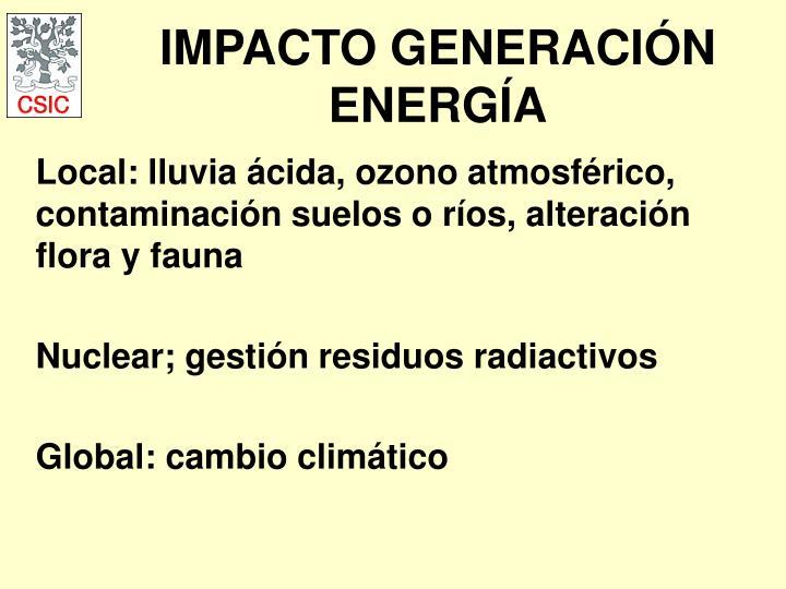 IMPACTO GENERACIÓN ENERGÍA