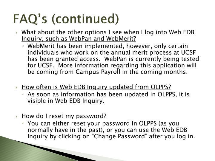 FAQ's (continued)
