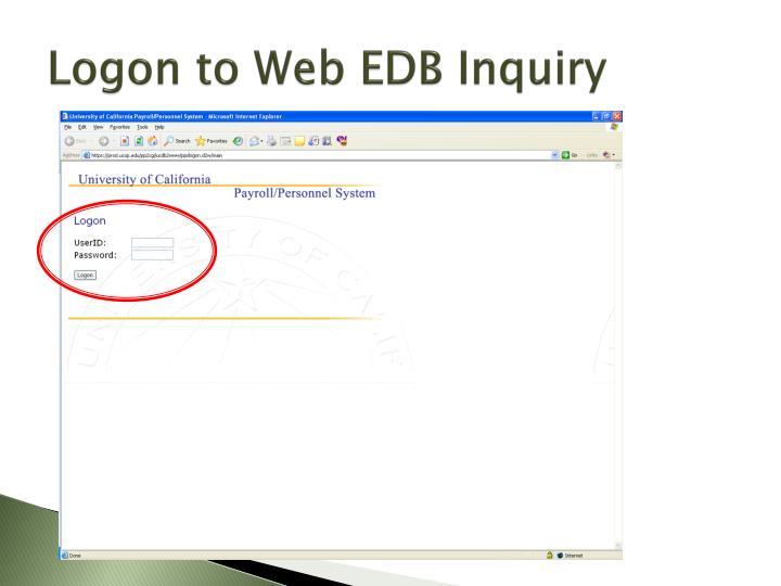 Logon to Web EDB Inquiry