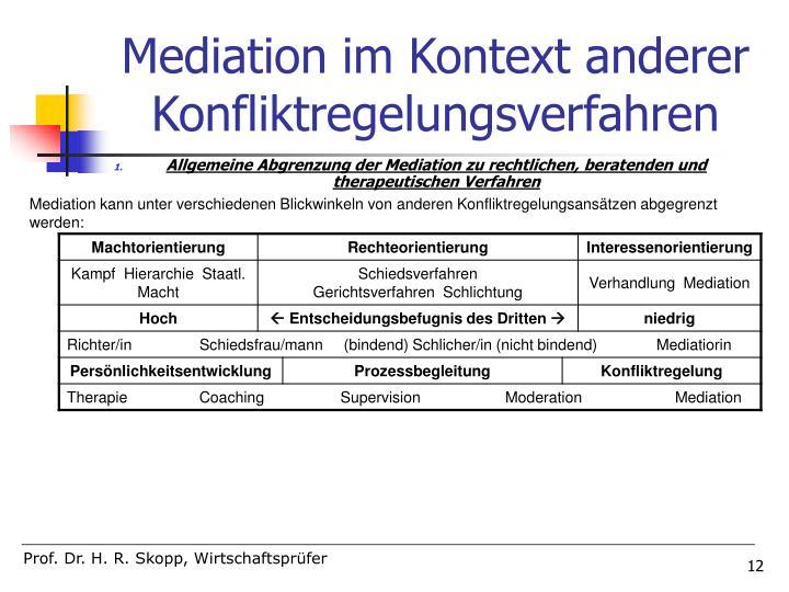 Mediation im Kontext anderer Konfliktregelungsverfahren