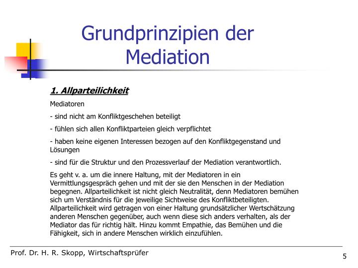 Grundprinzipien der Mediation