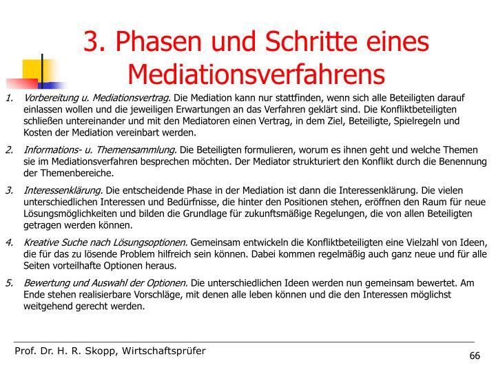 3. Phasen und Schritte eines Mediationsverfahrens