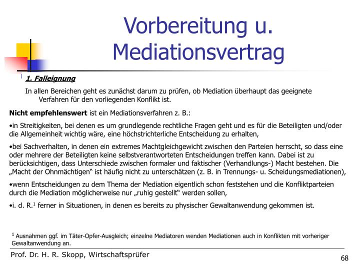 Vorbereitung u. Mediationsvertrag