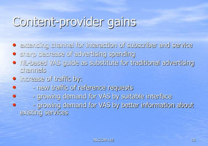 Content-provider gains
