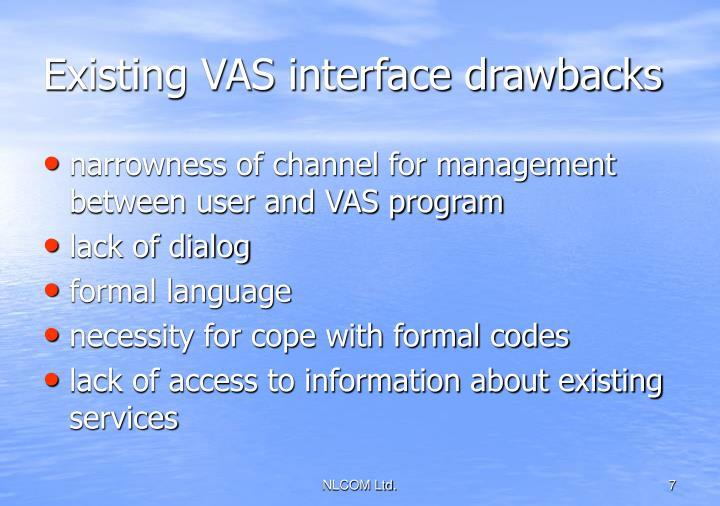 Existing VAS interface drawbacks