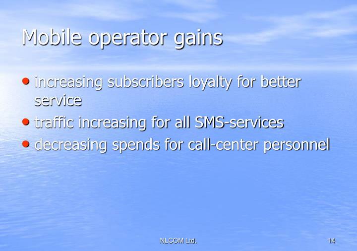 Mobile operator gains