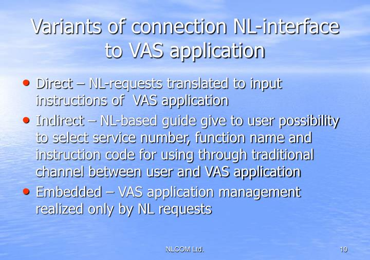 Variants of connection NL-interface to VAS application