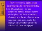 proyectos de la iglesia que responden a la postmodernidad