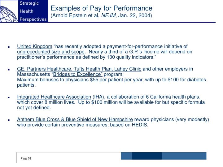 Examples of Pay for Performance