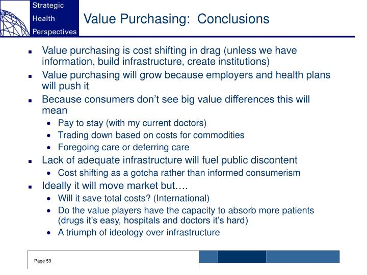 Value Purchasing:  Conclusions