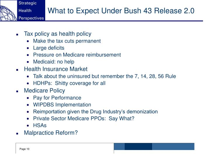 What to Expect Under Bush 43 Release 2.0