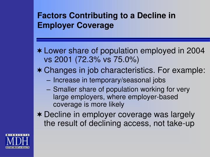 Factors Contributing to a Decline in Employer Coverage