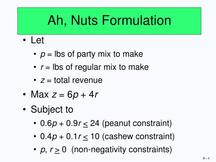 Ah, Nuts Formulation