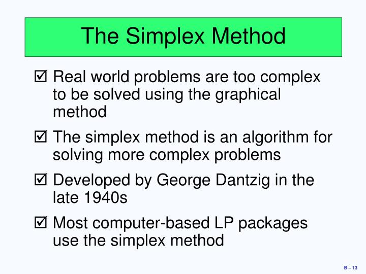 The Simplex Method