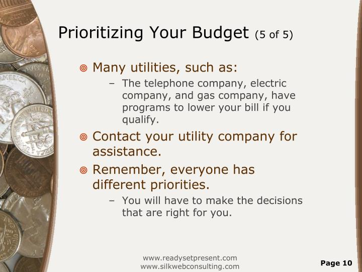 Prioritizing Your Budget