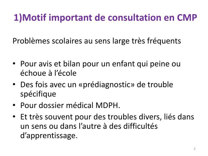 1)Motif important de consultation en CMP