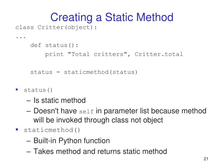 Creating a Static Method