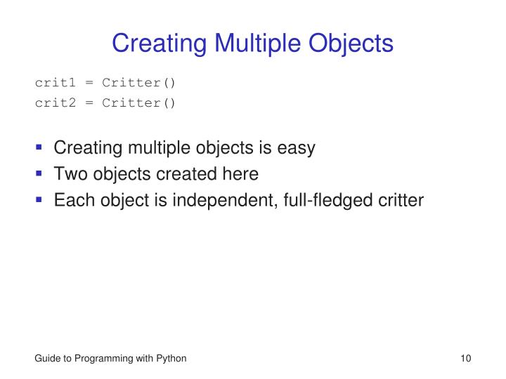 Creating Multiple Objects