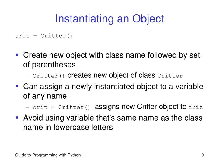 Instantiating an Object