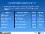 investment banks recommendations3