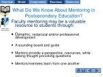 what do we know about mentoring in postsecondary education