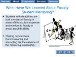 what have we learned about faculty student mentoring