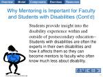 why mentoring is important for faculty and students with disabilities cont d1