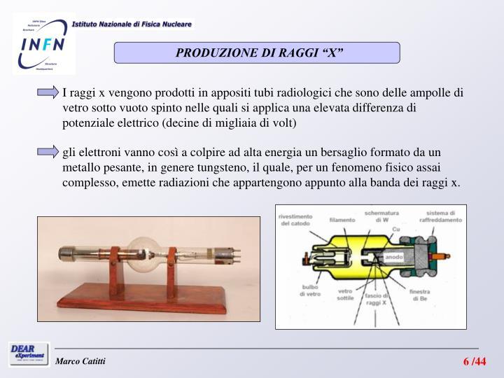 """PRODUZIONE DI RAGGI """"X"""""""