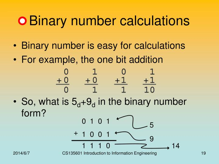 Binary number calculations