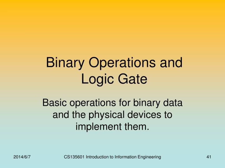 Binary Operations and