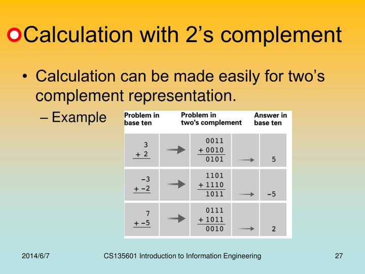 Calculation with 2's complement