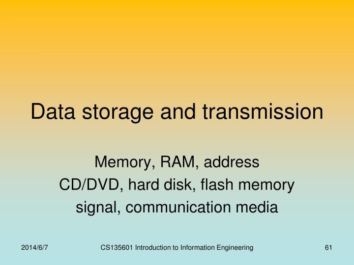 Data storage and transmission