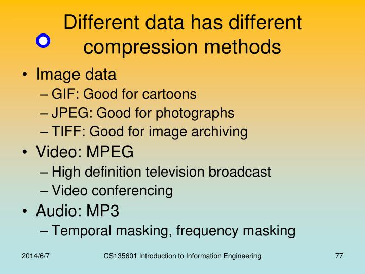 Different data has different compression methods