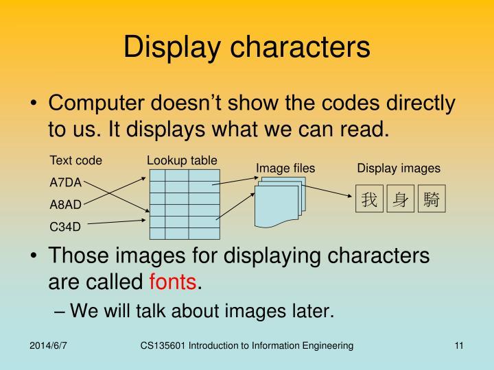 Display characters