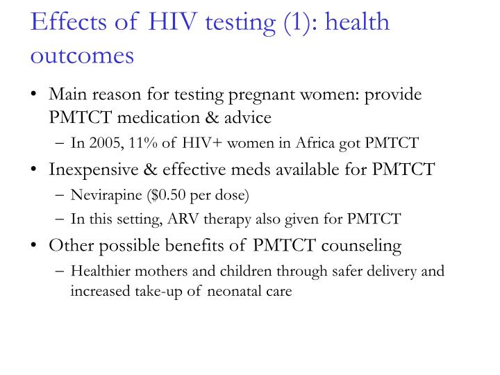 Effects of HIV testing (1): health outcomes
