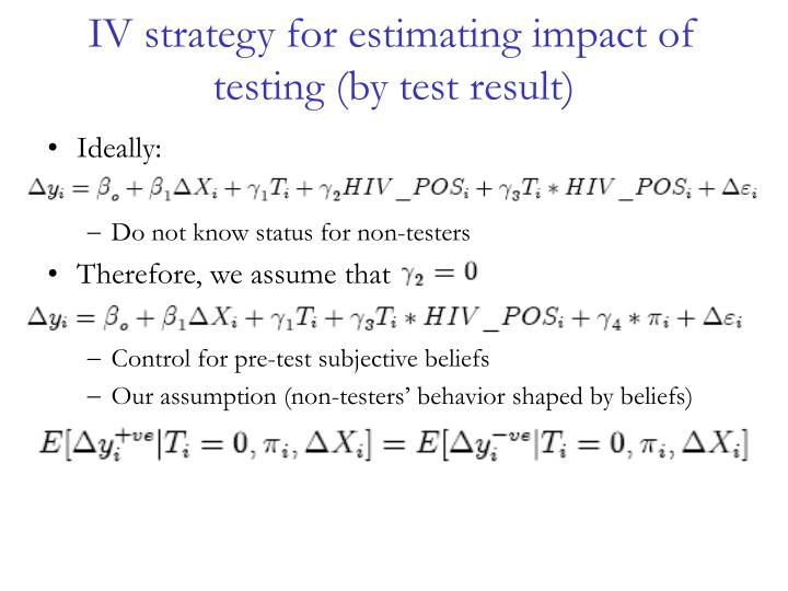 IV strategy for estimating impact of testing (by test result)