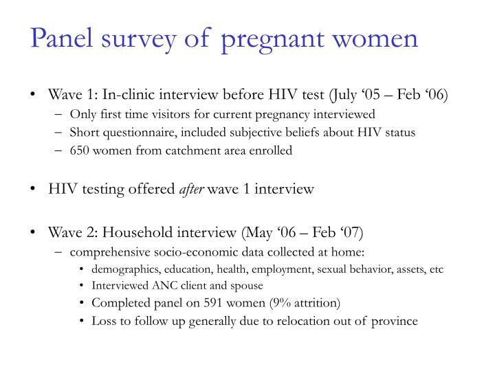 Panel survey of pregnant women