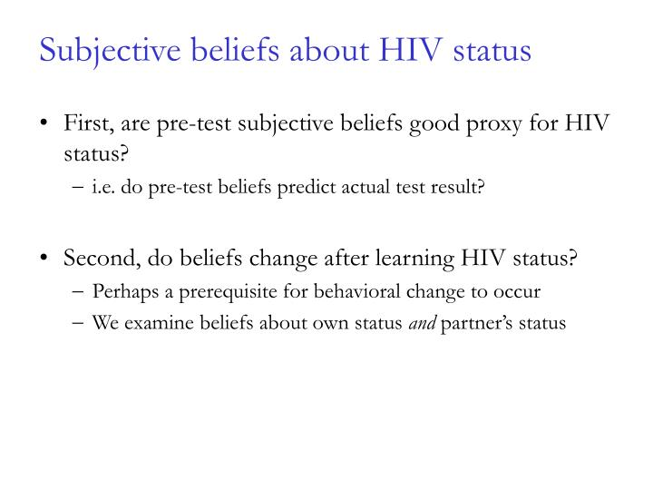Subjective beliefs about HIV status