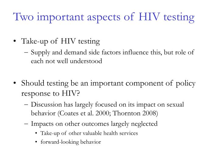 Two important aspects of HIV testing