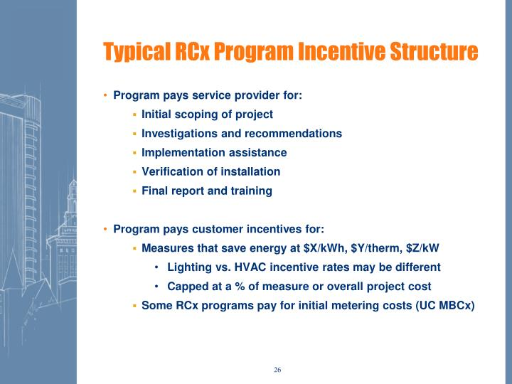 Typical RCx Program Incentive Structure
