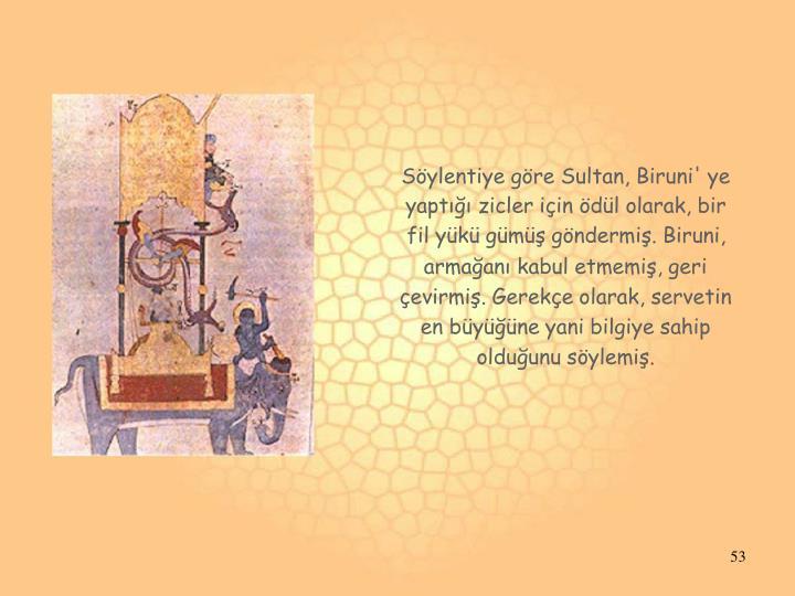 Söylentiye göre Sultan, Biruni' ye